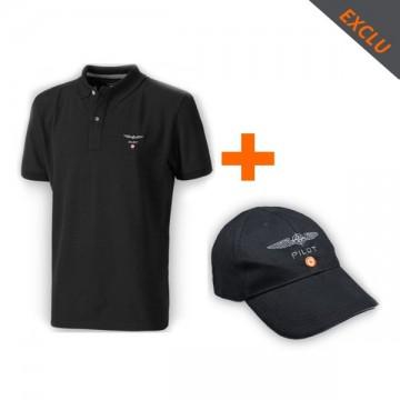 Ensemble casquette + polo Design 4 Pilots noir
