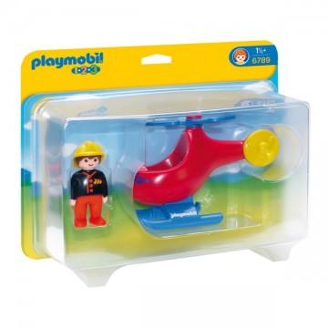 Playmobil 1.2.3 Pompier et hélicoptère