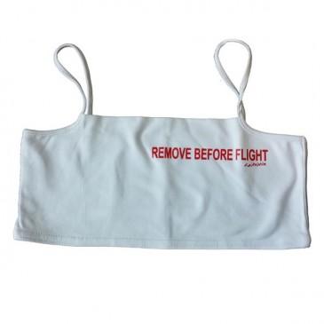 Mini-Top Remove before flight imprimé rouge sur fond blanc