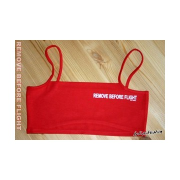 Mini-Top Remove before flight imprimé blanc sur fond rouge